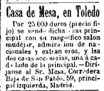 Anuncio de venta de la Casa de Mesa el día 30 de octubre 1892 en el diario El Día