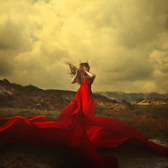 a storm to move mountains (brookeshaden) Tags: red sky selfportrait storm chaos wind surrealism surreal fabric brookeshaden texturebylesbrumes createdfromonesquareofloosefabric