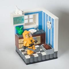 Litter Box (ted @ndes) Tags: kitchen cat lego minolta box sony humor radiation system litter suit minifig vignette biohazard hazmat moc 8x8 a700 50mm17