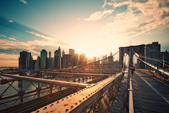 Brooklyn Bridge Sunset IV (Philipp Klinger Photography) Tags: ocean new york city nyc newyorkcity trip bridge light sunset shadow summer vacation people woman usa sun holiday ny newyork building water skyline architecture female brooklyn america skyscraper river stars foot evening us nikon rust pattern shadows unitedstates geometry path walk manhattan steel stripes flag south united unitedstatesofamerica north atlantic east cables brooklynbridge woolworth eastriver states lower bb footpath philipp sigma1224mm lowermanhattan verizon eastcoast starsstripes woolworthbuilding klinger of d700 dcdead