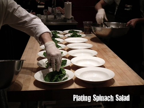 plating spinach salad