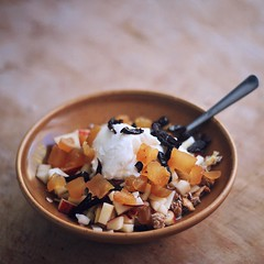 muesli meal (saicode) Tags: light apple breakfast natural meal translucent yogurt tone freshfruits muesli dryfruits driedplums driedpeaches foodshot