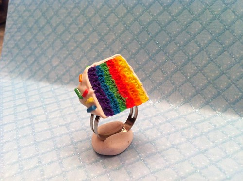 Rainbow Cake Slice Ring