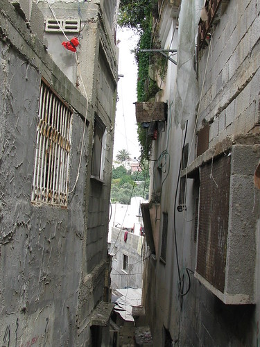 Narrow alleys in the refugee camp