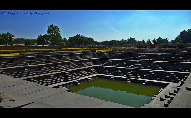 Pushkaran - a beautiful stepped tank in the royal enclosure at Hampi