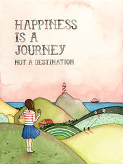 Happiness is a journey ({JooJoo}) Tags: ocean sea lighthouse kite art girl kids illustration print happy colorful ship drawing quote happiness wallart fields etsy inspirational archival pinksky multicolor textured greenhills joojoo giclee watercolorpainting afsanehtajvidi joojooland nauticalkitty