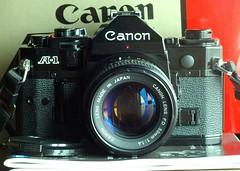 Canon A-1: Use or Keep or Sell? (mgtelu) Tags: lens with taken olympus an tokina canona1 atx mycameras cameracollection e510 canonfd50mmf14 f3545 2885mm