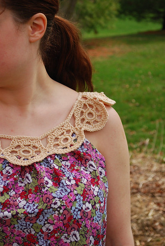 front detail of the crochet yolk top