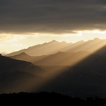 Backlight Mountain Sunrise, from Calvi, Corsica, France