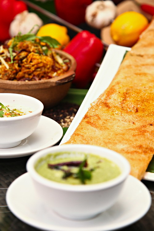 Masala Dosa with Mint and coconut Chutney