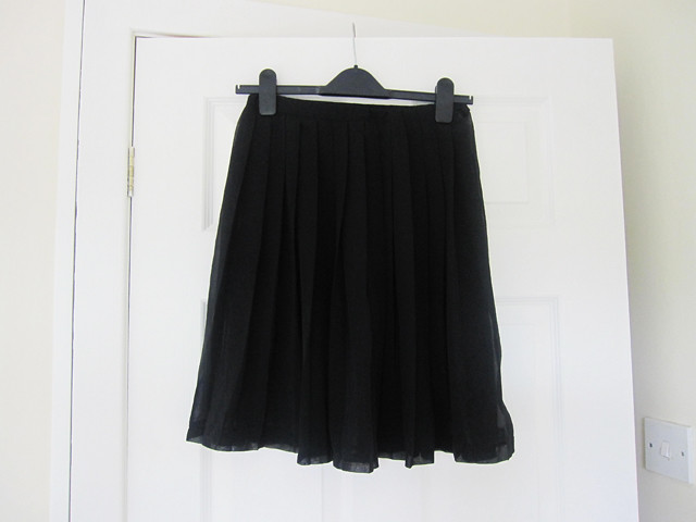 black sheer pleated skirt