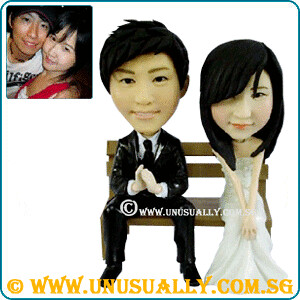 Custom 3D Wedding Couple On Bench Figurines