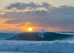 Sunset Surfing (andreaskoeberl) Tags: ocean sunset sun beach water hawaii nikon pacific surfer wave sunsetbeach 85f18 nikon85f18 d7000 nikond7000 andreaskoeberl