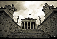academy of a (giuseppe pascale) Tags: travel sky cloud black sepia architecture grey stair university colours athens greece column marble socrates athena apollo plato neoclassical entrace sigma1020 gpfoto academyofathens a pedimet giuseppepascale giuseppepascalephotography a academyofa