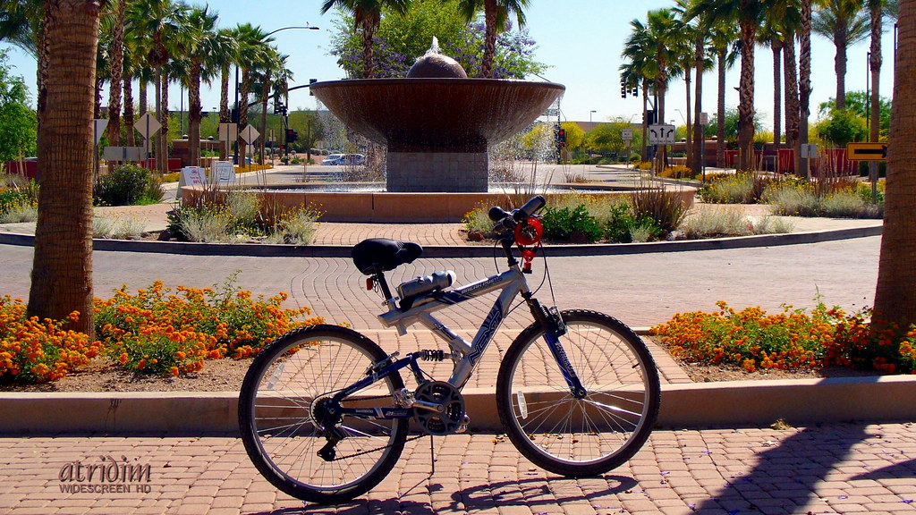 Bike Stop at Gilbert Town Square Fountain