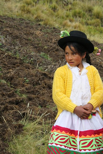 Putis girl in front of one of the potato fields
