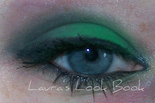 matte green eye look