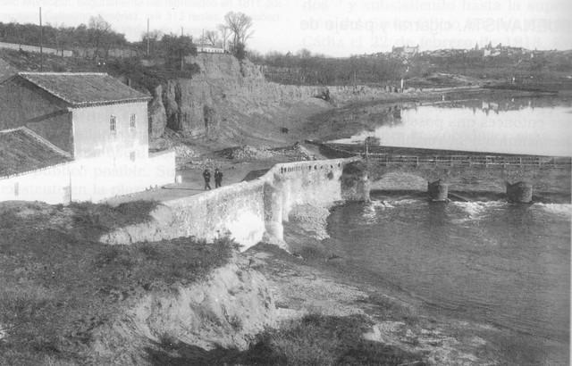 Molinos de Buenavista a comienzos del siglo XX. Al fondo, el Palacio de Buenavista. Fotografía Rodriguez