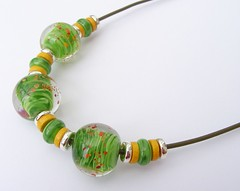 Rolling Grass Poppy Necklace (Glittering Prize - Trudi) Tags: uk green glass leather ceramic cord necklace beads handmade jewellery poppies jewelery trudi lampwork sra gbuk glitteringprize fhfteam britlamp