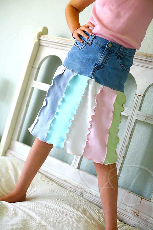upcycled skirt from jeans & tees
