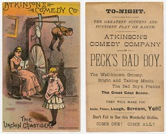 Atkinson's Comedy Co. The Urchin Chastiser / Peck's Bad Boy (Alan Mays) Tags: old girls boys boston vintage ads advertising children ma typography women funny theater humorous antique massachusetts humor smiles forbes ephemera type plays machines mass musicals pranks peck advertisements urchins groceries spanking rockingchairs badboys yells printers laughs typefaces grocers screams atkinson tradecards titters spanker chastise comedies forbesco pecksbadboy georgewpeck atkinsonscomedycompany urchinchastiser chastisers