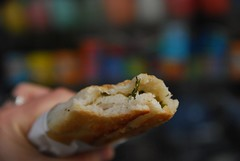 Spinach and Cheese Burek + tea shop bokeh - Turkish food stall, Queen Victoria Market AUD2.50