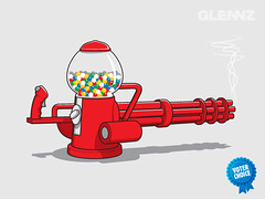 Gumball Machine Gun T-shirt (Glennz Tees) Tags: art nerd fashion illustration design funny gun geek sweet drawing humor cartoon machine tshirt weapon illustrator draw popculture tee vector ai gumball apparel adobeillustrator glenz glennjones glenjones glennz gleenz glennnz