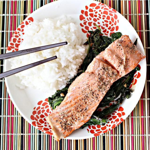 Steamed Wild Salmon With Mizuna, Mustard Greens, Soy Sauce
