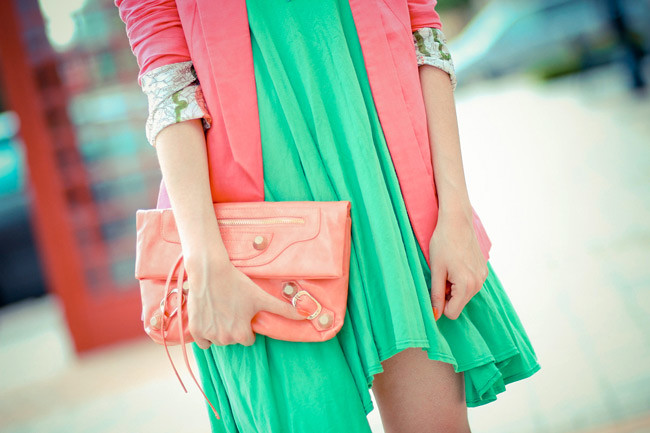 Color Blocking, Bright Green Dress, Moschino platform wedges, Balenciaga clutch, Neon Fashion