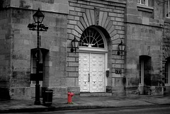Rainy Day in Old Montreal [Edited Version] (Kristina_Servant) Tags: red blackandwhite bw rouge noiretblanc montreal oldmontreal vieuxmontreal wow1 wow2 wow3 mtlguessed