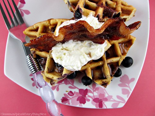 Blueberry Belgian Waffles and Brown Sugar Bacon