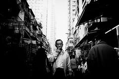 smoke (liver1223) Tags: street city people bw man photo shot smoke snap hong kong gr ricoh the