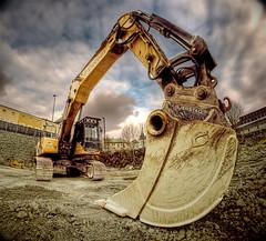 [免费图片] 工厂・机械, 挖土機, 施工, HDR, 201103302300