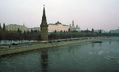The Kremlin, 1976 (NettyA) Tags: travel film ice 35mm river march russia moscow slide communism scanned kodachrome 1970s 1976 kremlin sovietunion ussr moskva