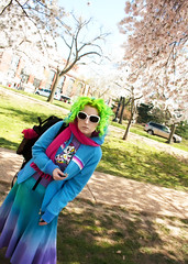 Day 120 of 365 - Year 2 (wisely-chosen) Tags: selfportrait me march cherryblossoms bluehair tokidoki greenhair 2011 365days manicpanicshockingblue manicpanicelectricbanana