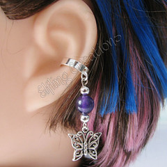 Silver and Purple Butterfly Cartilage Ear Cuff