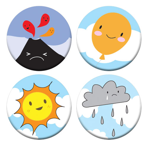 Kawaii Skies badge set