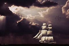 Sailing through the light (Violet Kashi) Tags: travel light sky sun birds sepia clouds photoshop sailing ship antique journey rays nautical beams