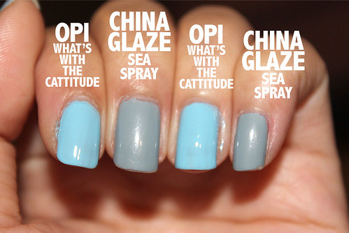 China Glaze Sea Spray vs OPI What's With The Cattitude
