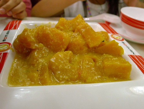 Pumpkin in egg yolk sauce