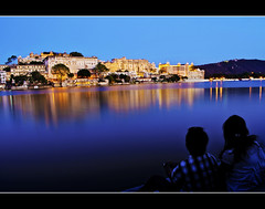 In the City of Romance!! (Explored) (PNike (Prashanth Naik..back after ages)) Tags: blue sunset india lake reflection building water architecture lights nikon palace romance sights rajasthan udaipur pnike