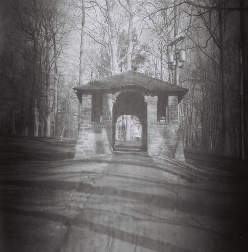 Hamilton College arch on walkway up College Hill Road, Clinton, N.Y. - Shot on 60-year-old Kodak 120 B&W stock