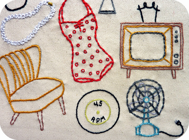 Vintage Shop Embroidery Pattern, detail 1