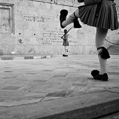 A small step forward! (porbem) Tags: street bw man men square soldier movement candid guard pb athens nb human changeoftheguard jospessoa asquaresuperstarstemple