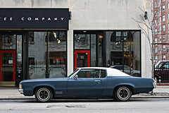 In Good Company (Flint Foto Factory) Tags: auto street city blue red urban white chicago classic hardtop coffee car vintage spring cafe automobile gm granville side parking profile north company grandprix american storefront april metropolis parked pontiac 1970 sheridan kerb curb kenmore coupe edgewater abody generalmotors 2door 2011 gbody modelj worldcars personalluxury