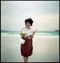Chinese girl (miss Yolkina) Tags: travel sea portrait girl rolleiflex thailand island asia coconut chinese shore thegulfofthailand