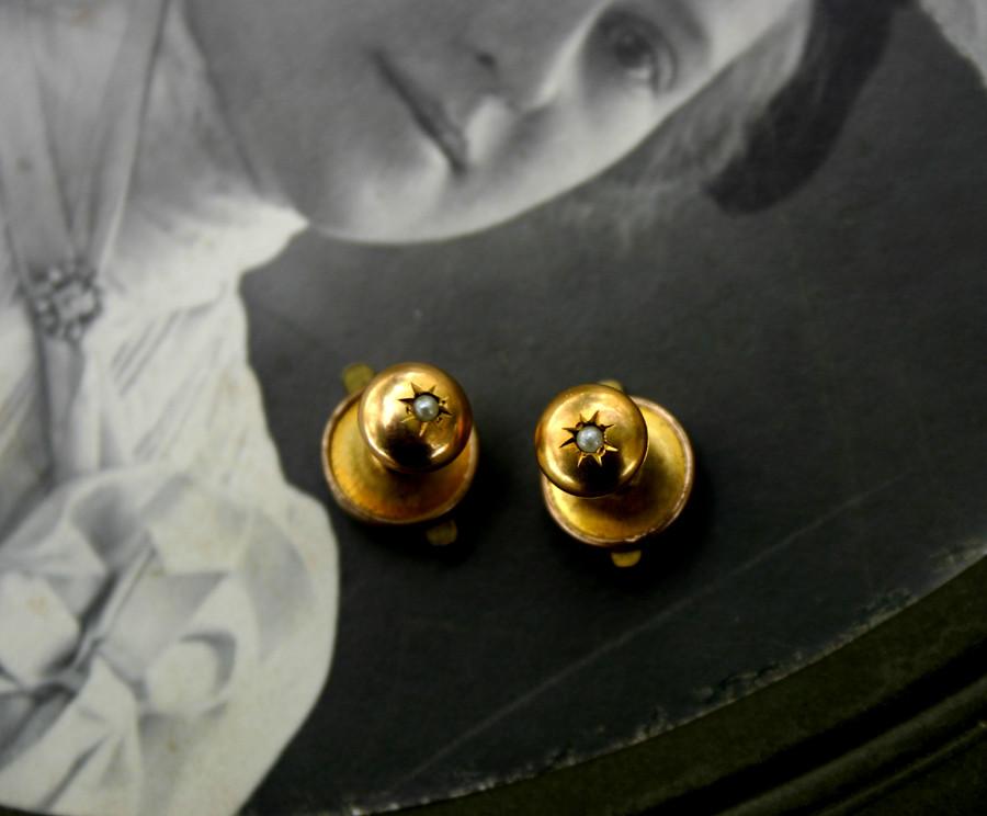 Edwardian Womens Cufflinks - Gold Plated with Seed Pearls - 01