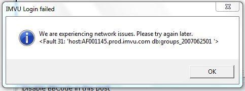 IMVU - View topic - Login Fail/Error