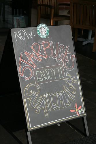 Starbucks placard