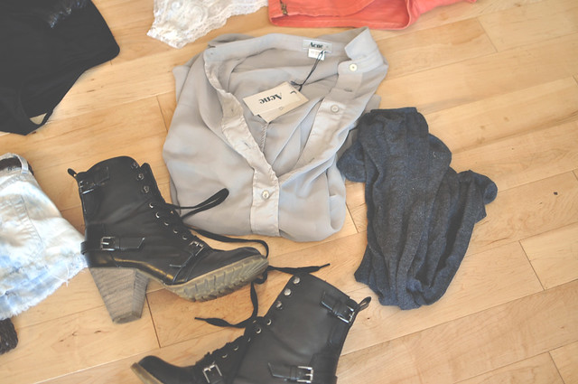 Acne blouse, thigh-highs, Deena and Ozzy boots